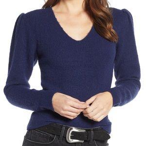 Something navy vneck puff sleeve sweater